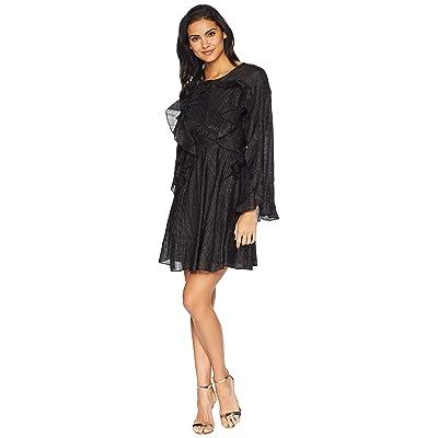 BCBGMAXAZRIA Ruffle Lurex Cocktail Dress (Black/Combo) Women