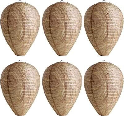 Paper Fake Wasp Nest Decoy - 6 Pack,Eco Friendly Hanging Wasp Effective Repellent for Wasps Hornets Yellow Jackets - Garden and Outdoors