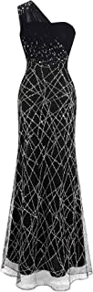 Angel-fashions Women's Ruched One Shoulder Beaded Long Black Evening Gown