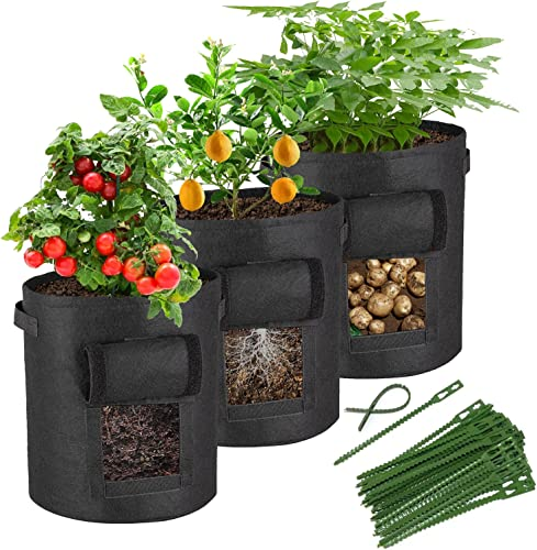 lowest Potato Grow Bags 3 Packs10 Gallon Potatoes online sale Growing Bag Fabric Pots for Garden Farm Lawn Agriculture Flower Onion Fruit high quality Carrot Tomato by JODELA (Black) sale