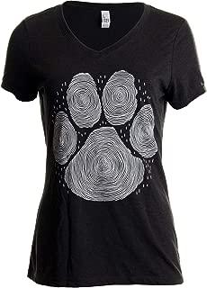 Paw Print Line Art | Cool Cute Dog Cat Illustration V-Neck T-Shirt for Women