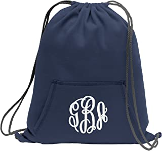 Personalized Monogram/Name Sweatshirt Cinch Bag with Front Pocket (Navy)