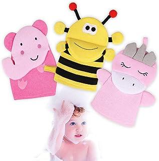Vamei 3 piezas manoplas de baño para bebés, guantes de lavado, toalla de algodón, exfoliante suave para baño y ducha de ni...