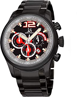 Joshua & Sons Men's Quartz Watch, Analog Display and Stainless Steel Strap Jx134Bk, Black Band
