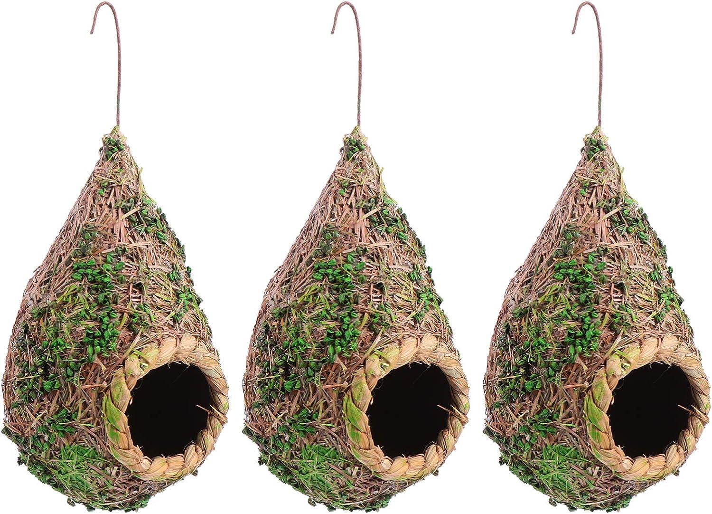TEHAUX 3pcs Ultra-Cheap Deals Bird House- Straw Garden Roosti Cage Popular product Decor Nest