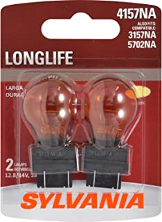SYLVANIA - 4157NA Long Life Miniature - Amber Bulb, Ideal for Parking, Side Marker, and Turn Signal Applications. (Contains 2 Bulbs)