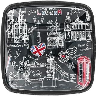 Lot de 4 boutons de tiroir en verre cristal pour commode, armoire, table de chevet, bibliothèque - Symboles anglais de Lon...