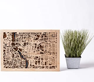 Albuquerque Wooden Map Small Scale Map Gift USA Wall Art Birthday Gift for Man 3D Wooden City Map Albuquerque Wooden Decor Xmas Gift for Girl City Wooden Map Albuquerque 3D Wooden Map (Small)