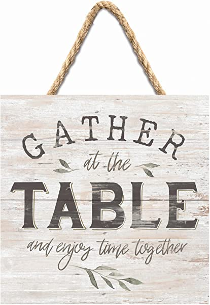 P Graham Dunn Gather At The Table Rustic Whitewash 7 X 7 Inch Wood Pallet Wall Hanging Sign