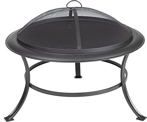 Fire Sense Tokia Round Black Steel 30 Inch Fire Pit with Stand | Wood Burning | Mesh Spark Screen, Wood Grate, and Sc...