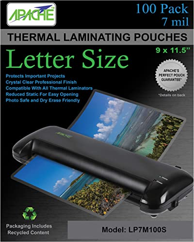 Apache Laminating Pouches, 7 mil, Letter Size, 100 Pack
