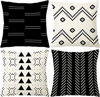 Ftuency Pillow Covers 18x18 Inches Set of 4, Modern Geometric Decorative Throw Pillow Cover, Square Sofa Linen Cushion Cas...