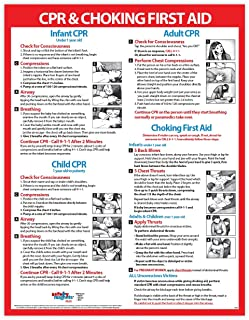 Choking and CPR Poster for Restaurant - Baby/Infant CPR Poster 2019 - Laminated First Aid Sign - Child and Adult CPR Instructions - Daycare Supplies - Heimlich Maneuver Chart - 17 x 22 Inches