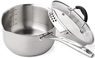 AVACRAFT Stainless Steel Saucepan with Glass Lid, Strainer Lid, Two Side Spouts for Easy Pour with Ergonomic Handle, Multipurpose Sauce Pan with Lid, Sauce Pot (Tri-Ply Capsule Bottom, 2.5 QT)