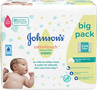 JOHNSON'S Cottontouch Extra Sensitive Wipes 224 ct (56x4) – Blended with Real Cotton – pH Balanced for Delicate Skin