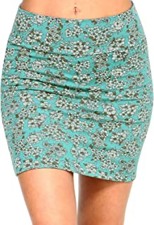 Fashionazzle Women's Casual Stretchy Bodycon Pencil Printed Mini Skirt