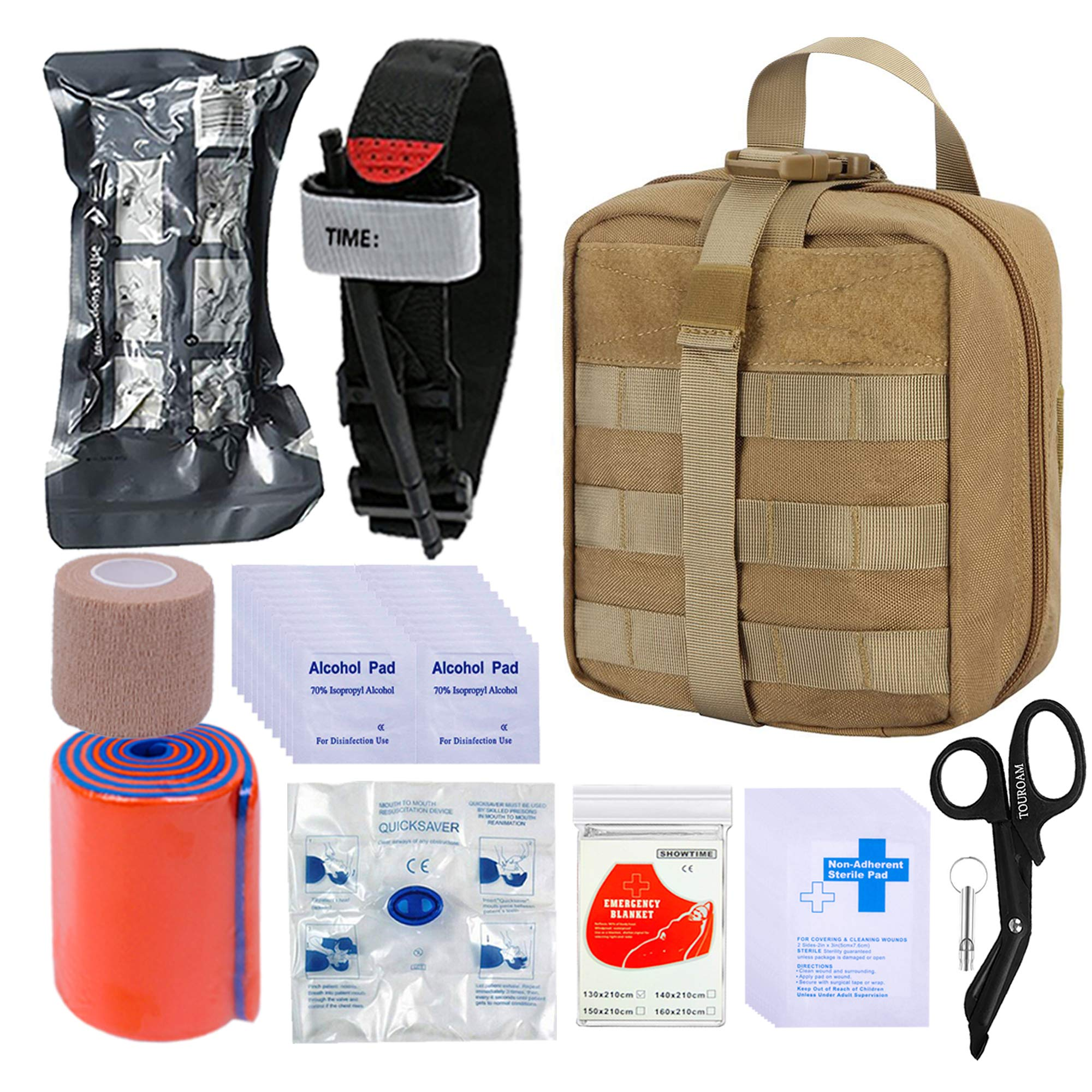 BUSIO Kit de Primeros Auxilios tácticos de Emergencia-MOLLE Admin Pouch IFAK-Vendaje para heridas Control de Sangre EMT Survival Trauma Kit-Camp Travel Car Kit: Amazon.es: Deportes y aire libre