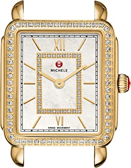 Michele - 16mm Deco II Mid-Size Diamond Gold, Diamond Dial