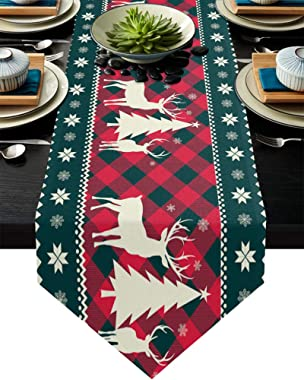 Christmas Tree Elk Deer Table Runners Red Holiday Buffalo Checkered Plaid Non-Slip Burlap Table Runner Cotton Linen Table Sca