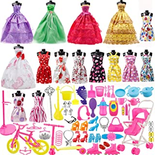 Yourss Doll Clothes Set for Barbie Dolls, 15 Pack Clothes Party Grown Outfits and 98pcs Different Doll Accessories Shoes B...