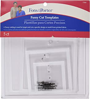 Fons & Porter 7764 Fussy Cut Templates, Squares, Size 2-Inch, 3-Inch, 4-Inch, 5-Inch, & 6-Inch, 5-Count
