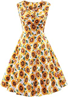 Women's 1950s Retro Vintage Cap Sleeve Cocktail Party Swing Dress
