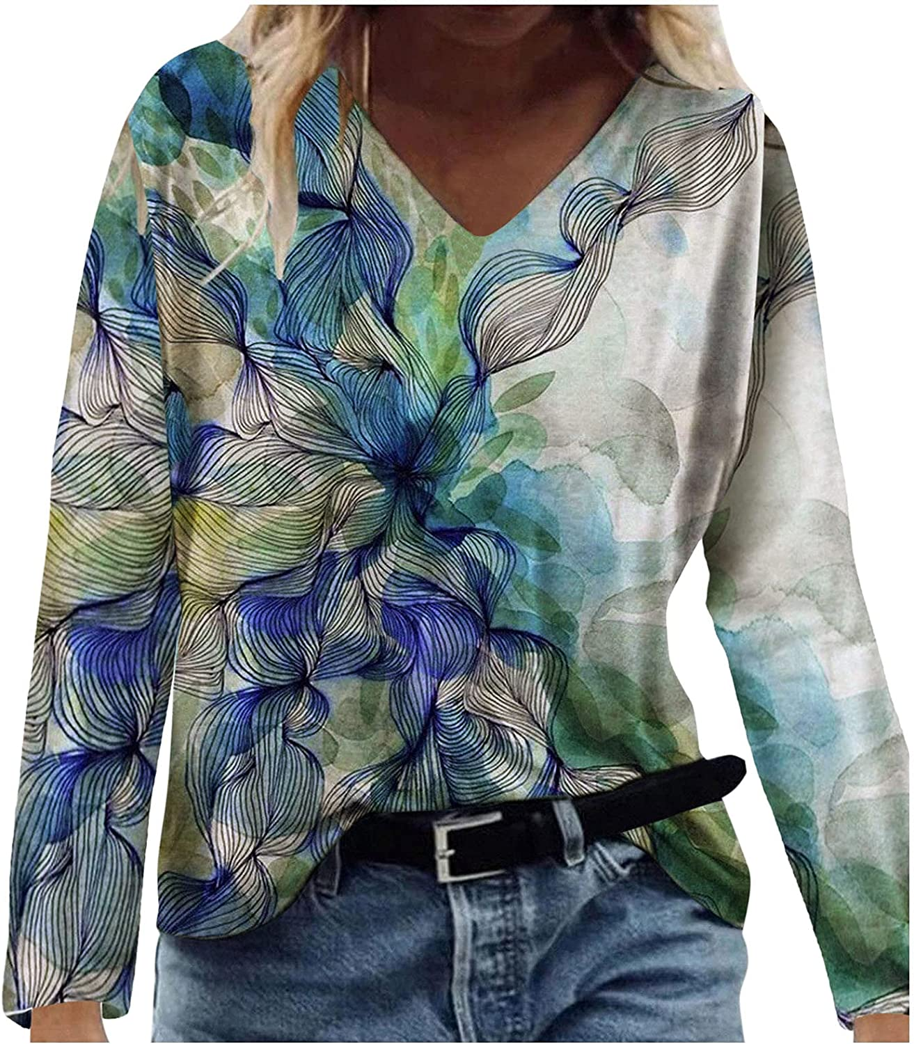 INNOVIERA Long Sleeve Blouses for Women Casual,Womens V Neck Sweatshirts Floral Loose Pullover Vintage Tunic Top Tees Shirts