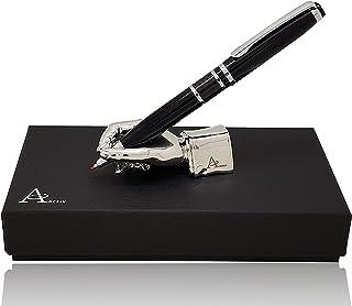 ACELY Executive Carbon Fiber gel ink Ball Pen with hand shaped Pen Holder Desk Decorations for Men - Pen & holder Set (Silver)