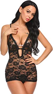 eshions Lingerie Women Floral Rose Lace Sexy Adjustable Straps Chemise with G-string Lingerie S-XXL