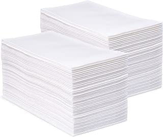 CrossbridgePro - White Disposable Linen Feel Napkins and Hand Towels - Home and Office Kitchen Supplies, Bathroom Hand Towel Use - Super Soft Airlaid Multifold Tissue - 12