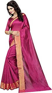 ETHNICMODE Women's Cotton Silk Style Saree with Blouse Piece (Multi-Color_Free_Size) Monika Wine NS