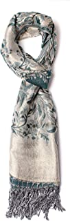 Alice Blake Premium Metallic Floral/Paisley Pashmina Scarf Shawl Wrap w/Gift Box