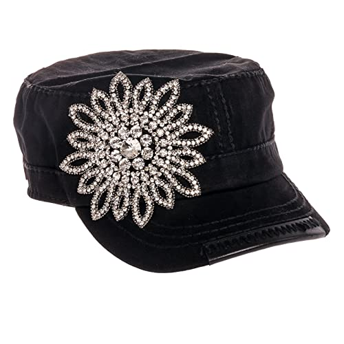 3364eb0f4fe Olive   Pique Women s Military Cap with Rhinestone Flower