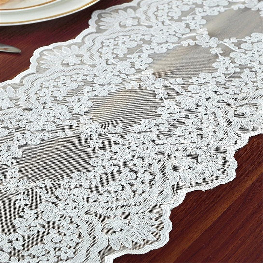 近傍リムアルバムTaiXiuHome ホワイト 結婚式やパーティーのために 欧風 レース刺繍入り花柄 スタンダードタイプ テーブルランナー 30 x 70cm