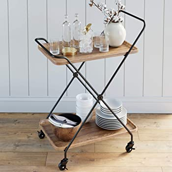 Nathan James Hallie Retro, Mid-Century, Rectangle, Rolling Bar or Serving Cart with 2-Tier Trays and Powder Coated Metal Finish, Beige/Black