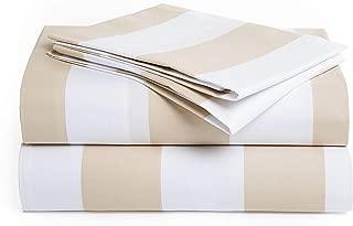 Peru Pima Luxury 415-Thread-Count Percale Peruvian Pima Cotton Full Bed Sheet Set, Wide Stripe Latte