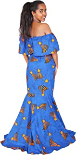 Women Tradtional African Print Elegant Long Sleeve Maxi Dresses Dashiki for Party Cocktail Prom