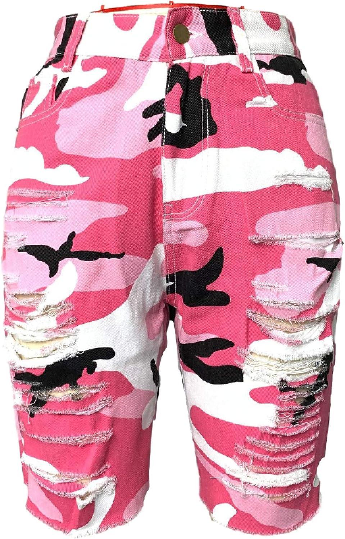Ladies Summer Denim Shorts Classic Fashion Camouflage Print High Waist Stretch