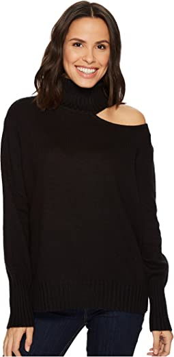 Vince Camuto - Long Sleeve Asymmetrical Cold-Shoulder Turtleneck Sweater