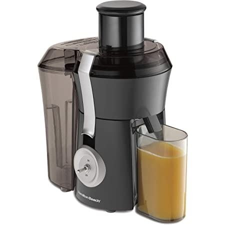 "Hamilton Beach Pro Juicer Machine, Big Mouth Large 3"" Feed Chute, Centrifugal, Easy to Clean, Powerful 1.1 HP Motor, Grey and Die-Cast Metal (67650A)"