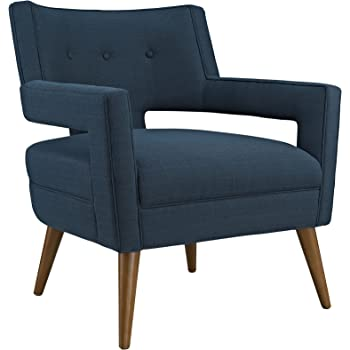 Amazon Com Modway Dock Mid Century Modern Upholstered Fabric Accent Arm Lounge Chair In Azure Table Chair Sets