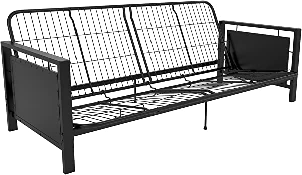 DHP Henley Metal Arm Futon Frame Industrial Loft Design Converts To Sleeper Black Sturdy Metal