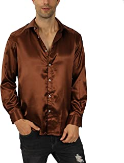 Keaac Mens Button Down Shirt Pleated Two Pocket Long Sleeve Shirt