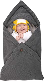 Newborn Baby Wrap Swaddle Blanket - Knitted Fleece Receiving Blankets Sleeping Bag Stroller Wrap Baby Shower Gift for Boy Girl Grey