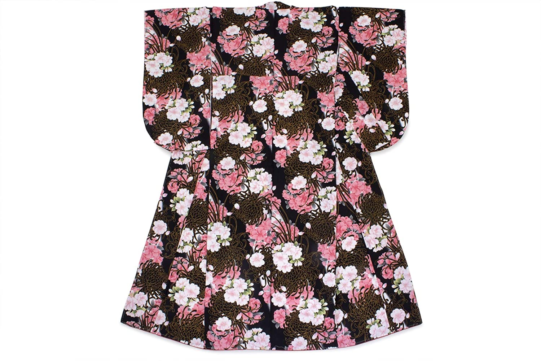 (ソウビエン) 袴用二尺袖着物 黒 菊 桜 花 手鞠 房紐 小紋柄 小振袖 仕立て上がり