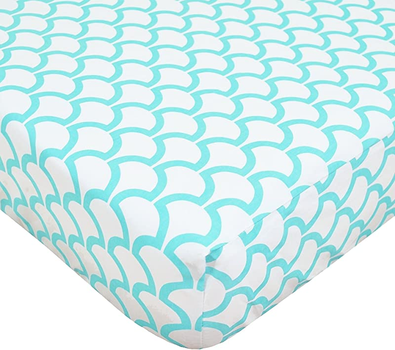 TL Care 100 Natural Cotton Percale Fitted Crib Sheet For Standard Crib And Toddler Mattresses Aqua Sea Wave 28 X 52 Soft Breathable For Boys And Girls