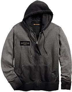 Men's Felt Appliqué Slim Fit Hooded Sweatshirt (Black)