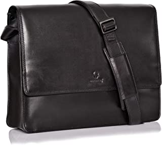 DONBOLSO Barcelona Messenger Bag Leder I Umhängetasche für Laptop I Aktentasche für Notebook I Tasche für Damen und Herren Schwarz