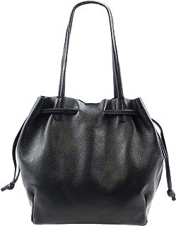 SH Leder ® Damen Echtleder Shopper mit Schnürung zum zusamen ziehen mit Innentasche in vielen Farben Schultertasche Henkel...