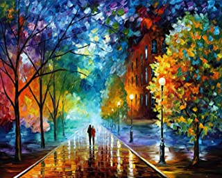 Rihe Paint By Numbers Kits Diy Oil Painting for Adults Kids Beginner- Romantic Night 16x20 Inch (Frameless)
